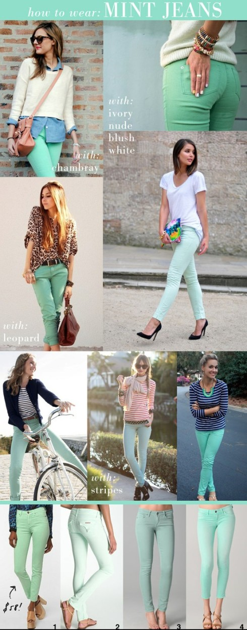 how to wear mint jeans